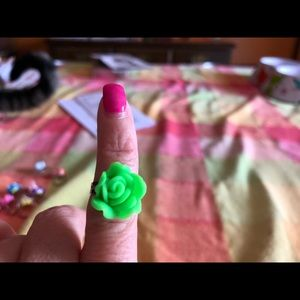 Fashion Clay Green Rose Adjustable Ring